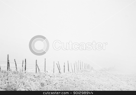 Fence Line stock photo, Prairie fence line in fog by Tyler Olson