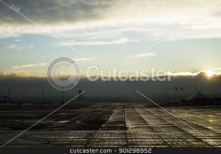 Airport stock photo, Calgary Airport during sunset on a January day. by Tyler Olson