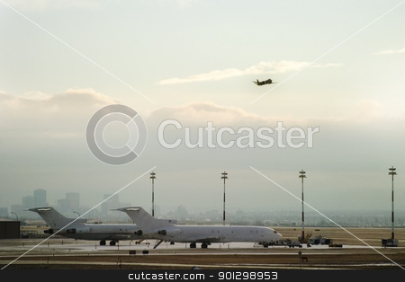 Takeoff stock photo, Airplane taking on from the airport. by Tyler Olson