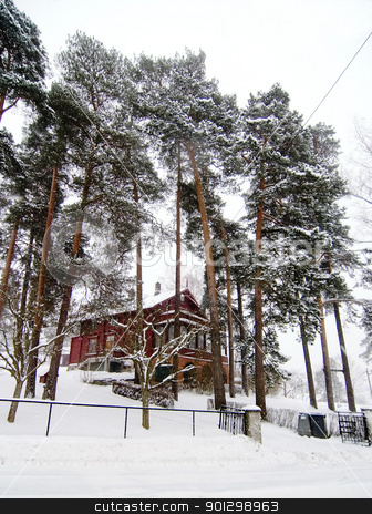 Winter Holiday Cabin stock photo, Nordstrand villa in winter, Oslo, Norway. by Tyler Olson