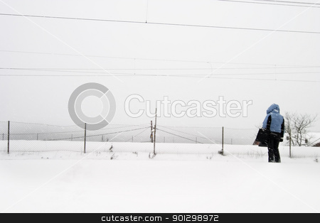 Wait for the Train stock photo, A person waiting for the train in oslo Norway at Ljan Station by Tyler Olson