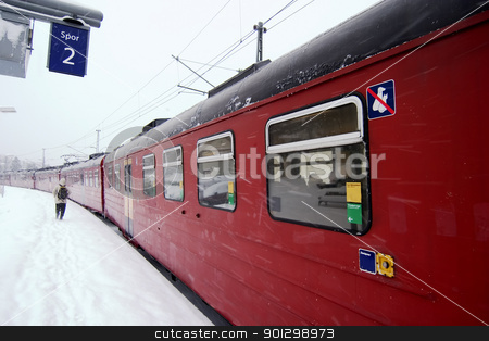 Winter Train Station stock photo, A train at Ljan train station, in Oslo, Norway. by Tyler Olson