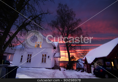 Sunset House stock photo, A house in Oslo, Norway at sunset by Tyler Olson