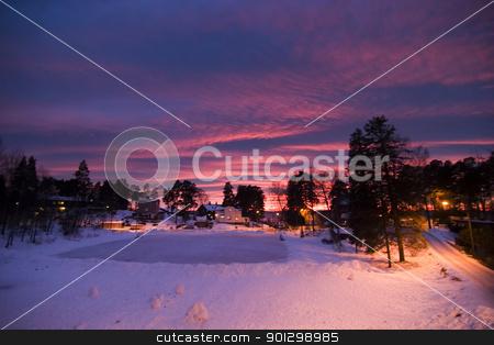 Purple Sunset stock photo, Sunset in Oslo Norway by Tyler Olson