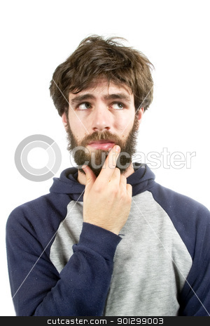 Thinking of a Good Idea stock photo, A young male with bear and messy hair thinking of a good idea by Tyler Olson