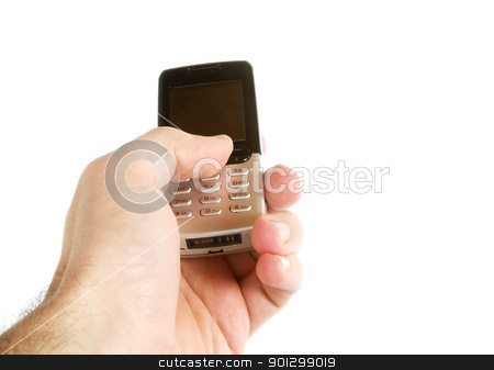 Text Message stock photo, A hand text messaging with a cell phone, isolated on white with a clipping path. by Tyler Olson