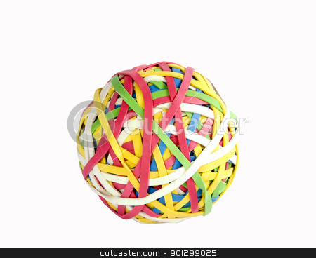 Rubber Band Ball stock photo, A ball of rubber bands isolated on white with clipping path. by Tyler Olson