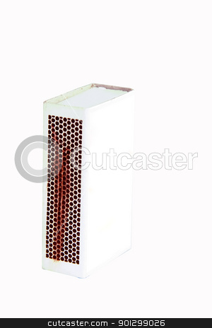 Matchbox Cutout stock photo, A matchbox isolated on white with clipping path and a blank face ready for you own graphic. There is a work path where the label should be placed. by Tyler Olson