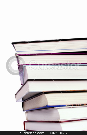 Pile of books stock photo, An endless stack of hard cover text books piled high, isolated on white.  Vantage point from below. by Tyler Olson