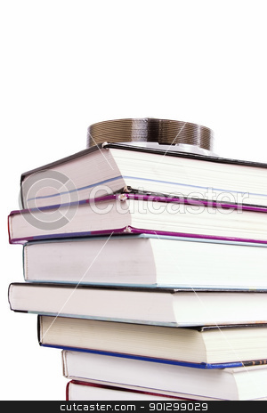 CD Book stock photo, A stack of books with a cd.  A concept image for digital books by Tyler Olson