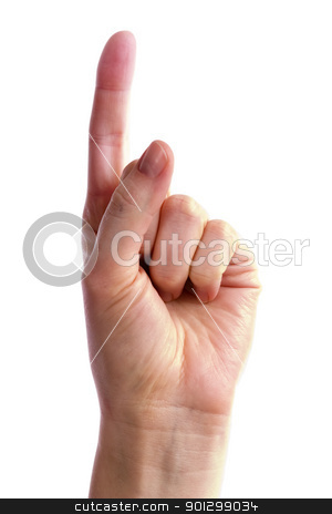 Number One stock photo, A hand holding up one finger. Includes clipping path. by Tyler Olson