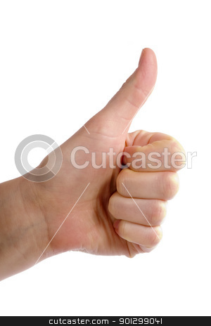 Thumbs Up stock photo, An adult female hand holding their thumb in the air. Seen from the side with clipping path; by Tyler Olson