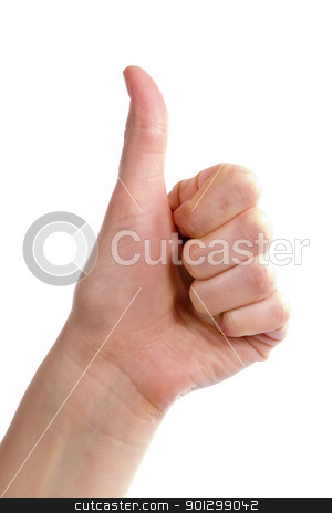 Thumbs Up stock photo, An adult female hand holding their thumb in the air. Seen from the side with the thumb bending backwards. Includes clipping path. by Tyler Olson