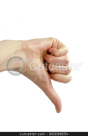 Thumbs Down stock photo, Thunbs down sign isolated on white showing the inside of the hand. by Tyler Olson