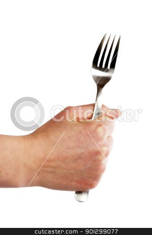 Fork in Hand stock photo, A fork being held by a womans hand. by Tyler Olson