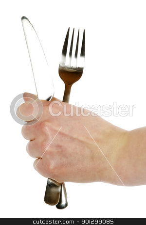 Knife and Fork stock photo, A knife and fork being held by a womans hand.  Isolated on white with clipping path. by Tyler Olson