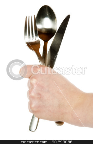 Knife, Fork and Spoon stock photo, A knife, fork and spoon being held by a womans hand. Isolated on white with clipping path. by Tyler Olson