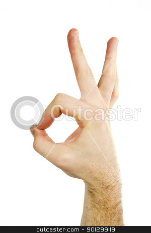 Perfect Isolated stock photo, A male hand showing the perfect sign with his thumb and fore finger. Isolated on white with clipping path. by Tyler Olson