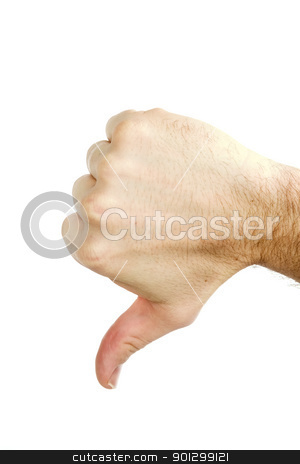 Thumbs Down Isolated stock photo, A thumbs down sign from a male hand.  Isolated on white with clipping path. by Tyler Olson