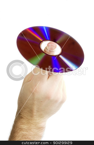 Compact Disk DVD stock photo, A male hand holding a cd on one finger.  Isolated on white with clipping path. by Tyler Olson