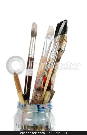 Paint Brush stock photo, Paint brushes isolated on white with clipping path. by Tyler Olson