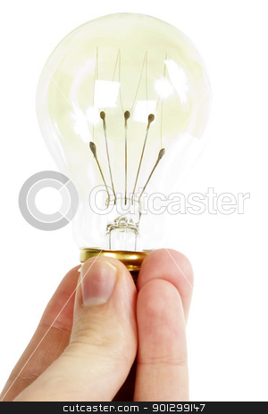 Light Bulb stock photo, A hand holding an old fashioned light bulb, isolated on white with clipping path. by Tyler Olson