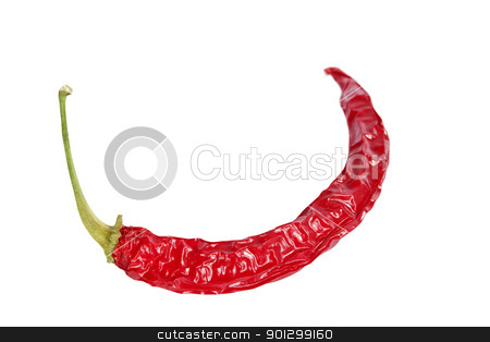 Red Hot Chilli stock photo, A dry red hot chilli pepper isolated on white with clipping path. by Tyler Olson