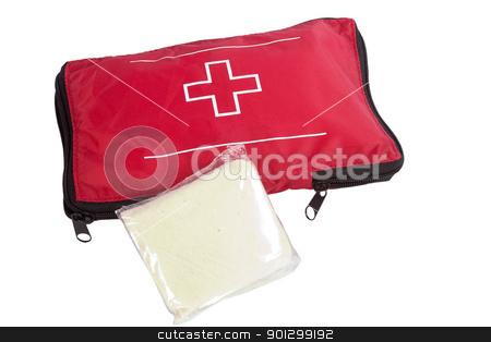 First Aid Kit stock photo, A camping first aid kit, isolated on white with clipping path. by Tyler Olson