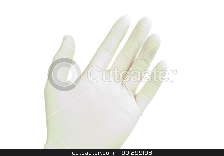 Latex Glove on Hand stock photo, A males hand wearing a latex glove, isolated on white with clipping path by Tyler Olson