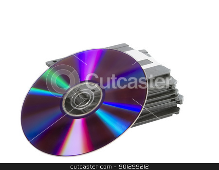 Media Storage stock photo, A stack of old dusty 3 1/2