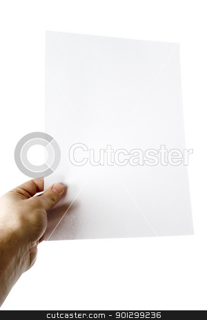 Blank Page stock photo, A males hand holding up a white paper with nothing on it (put on your own text or image or leave as blank).  Isolated on white with clipping path. by Tyler Olson