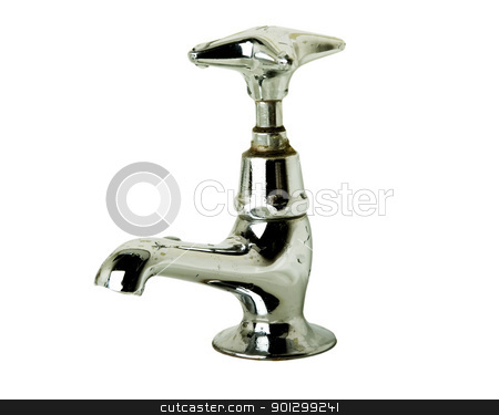 Retro Tap stock photo, A retro bathroom sink tap isolated on white with clipping path. by Tyler Olson