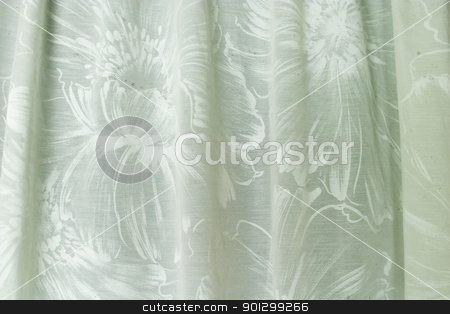 Flower Shower Curtain stock photo, An old shower curtain with flower patter, detail texture image. by Tyler Olson