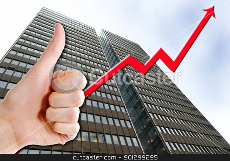 Business Success stock photo, A thumbs up with a graph line going up and up, with a tall business building in the background.  Success in Business. by Tyler Olson
