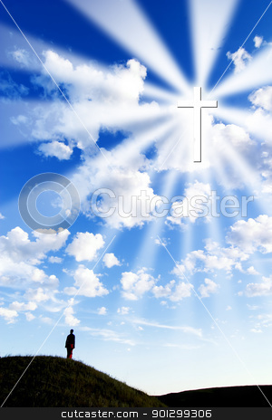 Follow the Cross stock photo, A person on a hill looking up to a glowing cross in the sky. by Tyler Olson