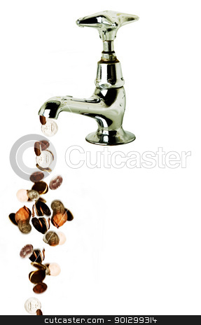 Flowing Money stock photo, Money flowing out of a retro tap, isolated over white by Tyler Olson