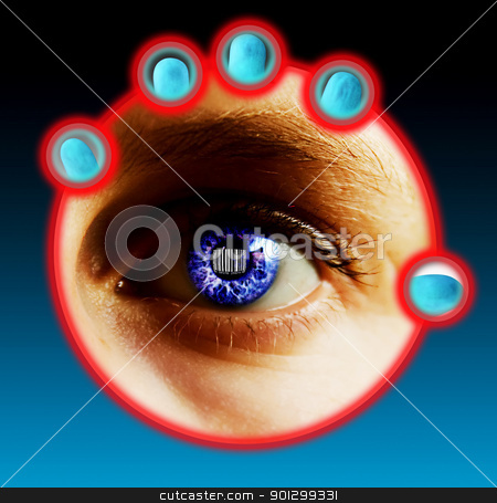 Bar Code Identity stock photo, Fingers being scanned for their fingerprints and eye scan while a bar code is located in the pupil of the eye. Security concept image. by Tyler Olson