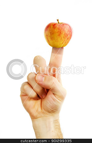 Apple Finger stock photo, An apple stuck on a finger, concept image for healthy eating. by Tyler Olson
