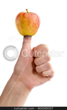 Thumb on Apple stock photo, An apple on a thumb, healthy eating concept image. by Tyler Olson