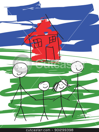 Gay Male Family stock photo, A child-like drawing of a pair of gay males, and their kids.  Vector drawing in eps format. by Tyler Olson