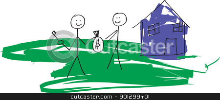 Real Estate stock photo, A child like drawing in vector format of a stick man selling a house to another.  Would also work for renting concept. by Tyler Olson