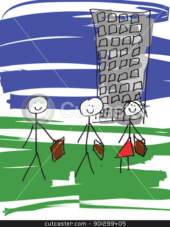 Business Team stock photo, A vector image of a child like drawing of a business team. by Tyler Olson
