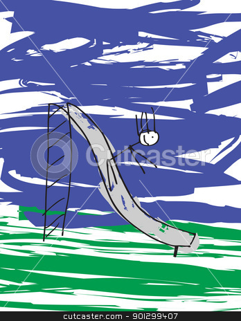 Child on Slide stock photo, A vector image of a child like drawing of a child on a slide. by Tyler Olson