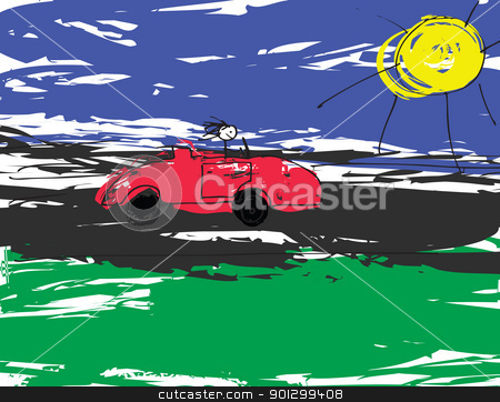 Convertable Car stock photo, A vector image of a child like drawing of a stickman driving a red convertable. by Tyler Olson