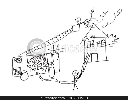 Fireman Image stock photo, A vector format image of a child like drawing of firemen trying to save a burning house. by Tyler Olson