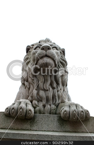 Lion Statue stock photo, A lion statue sits majesticaly on it's pedestal. Isolated against a sky. by Tyler Olson