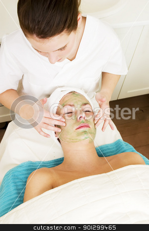 Aloe Vera Facial stock photo, Aloe Vera facial preparation at a beauty spa. by Tyler Olson