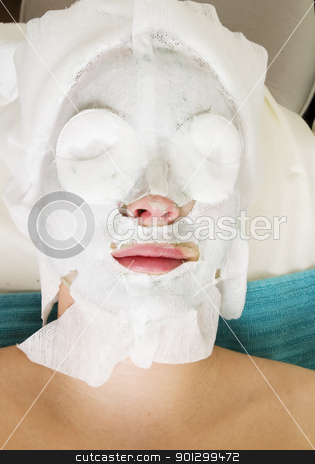 Facial Mask stock photo, A detail of a facial mask being applied at a beauty Salon by Tyler Olson