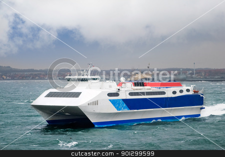 Speed Ferry stock photo, A fast catamaran ferry by Tyler Olson