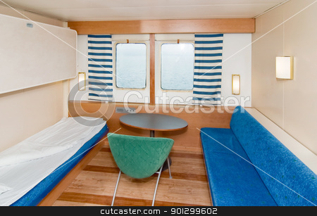 Cruise Ship Cabin stock photo, A small cruise ship cabin by Tyler Olson